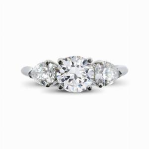Brilliant Cut & Pear Shape Engagement Ring 0.80ct E VS2 IGI
